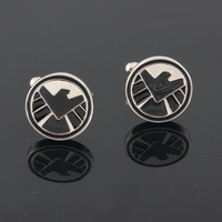 Fashion French Pictographic cufflinks Men's Stickpin Superhero - S.H.I.E.L.D Cufflinks sleeve button
