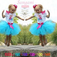 1-St Free shipping frozen dress Girls dress butterfly knot princess dress with short sleeves elsa dress 5pcs/lot