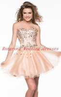 2014 New vestidos de coquetel Sweetheart Beading Mini Prom Formal Party Ball Gowns Cocktail short Homecoming dresses Bridal gown