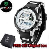 WEIDE Brand Name Men watch Led Alarm Digital Analog Display Silicone Straps Watches Waterproof 30M Wristwatch Dropship