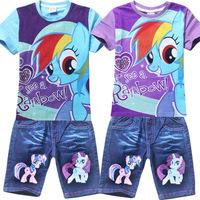Retail! Children's suit 2014 new girls Clothing Set Kids my little pony t-shirt+jeans fashion cartoon clothes suits 2colors