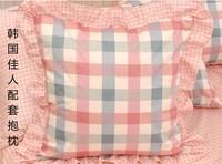 Princess girl 2pcs/lot 100% Cotton lovely ruffle check pillow case home garden bed set chair cushion cover/C7127 Free shipping