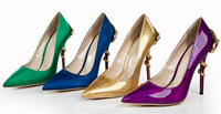 Hot Selling Mary Janes Fashion Lady High Heels Snake Heels Pumps Pointed Toe Women Genuine Leather Dress Shoes