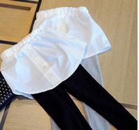 2014 Autumn 5pc/lot Cotton Solid Cotton Girls Leggings with White Skirt Children Skinny Pants Gray Black