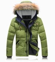 Quality Winter Fashion Man's Down Jacket Good Looking Fur Hood Down Coat Winter Outwear 90% White Duck Down Parkas JK-348