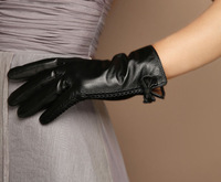 New Deluxe Women's Smart Touch Screen Gloves Genuine Sheepskin Leather Bowknot Braided Streams