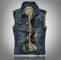2014 FREE SHIPPING Men Plus size denim vest M-5XL men Hot New turn down collar Korean style casual jean vest ,dark blue 7 size