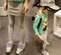 2014 Autumn Solid Cotton Girls Leggings with Skirt Children Skinny Pants with skirt Gray Black