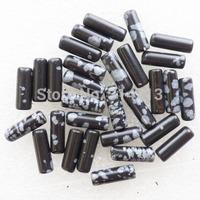 (Min.order 10$ mix)30pcs Beautiful Snowflake Obsidian Column Pendant Bead SAM0369
