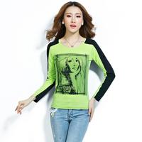 7 color 2014 new autumn / winter women's coats gauze clothing base shirt long sleeve t shirt women S / M / L / XL / XXL / XXXL