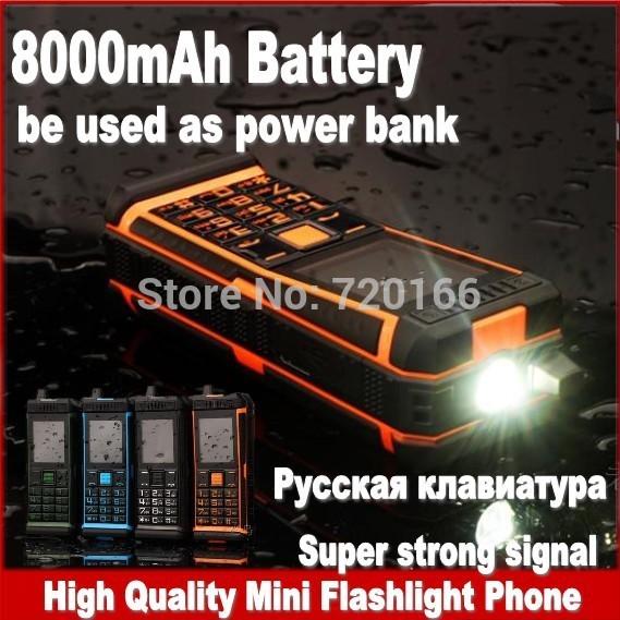 2014 New luxury mini waterproof mobile phone dual sim power bank flashlight unlocked cell phones Russian Spanish long standby(China (Mainland))