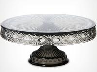 Home fruit plate footed crystal glass fruit bowl big dessert plate cake pan