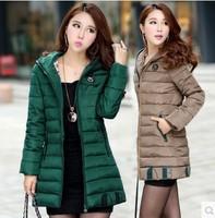 2014 Winter Women Down Jacket Coat Thicken Slim Female Fur Collar Long Coat Casual Parka Women Plus Size 4XL Free Shipping 5810#