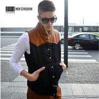 Fashion new arrival autumn and winter pure cotton casual men vests coat Personality patchwork vest  plus size XL-XXL
