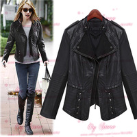 2014 the new dress In the fall of the new Pu leather coat of cultivate one's morality