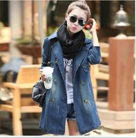 2014 new women's down Long denim jacket clothes Autumn winter Slim cotton jaquetas denim jeans bomber coats dzhinsovka