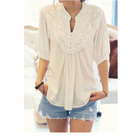 2014 New Design Fashion Lace Splicing Crochet Flower Casual Blouse For Women Half Sleeve Sexy Lace Lady Blouse Top AY851957