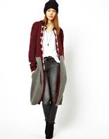 Casual Cotton crochet cardigan red long outwear winter autumn women new fashion 2014 oversized open stitch Free shipping