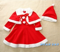 New girl dress skirt shawl + Christmas  gifts  hat three-piece skirt suit 25sets/lot