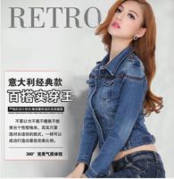 2014 New women's spring Autumn short denim jacket women winter slim cotton Punk denim outerwear jeans Coat