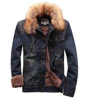 Top Sale Men Brand Denim Jacket Male Winter Fur Collar Jeans Coat Wool Thick Outwear Cotton Hooded Plus Size S-XXL 2 Colors