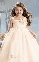 Peach Pleated Organza Sweet Princess Flower Girl Dresses for Weddings Party Evening Vestidos 2-12 age with Peach Ruffled Hem