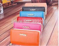 5pc/lot Wholesale 2014 new arrival high quality   Lady women Pu leather  double zipper wallet purse 20.5*11*4cm JW919-2