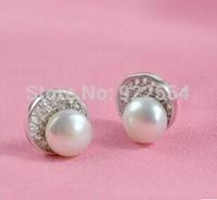 FASHION WOMEN beans form 925 silver 7.5 8.5 mm freshwater pearl earrings
