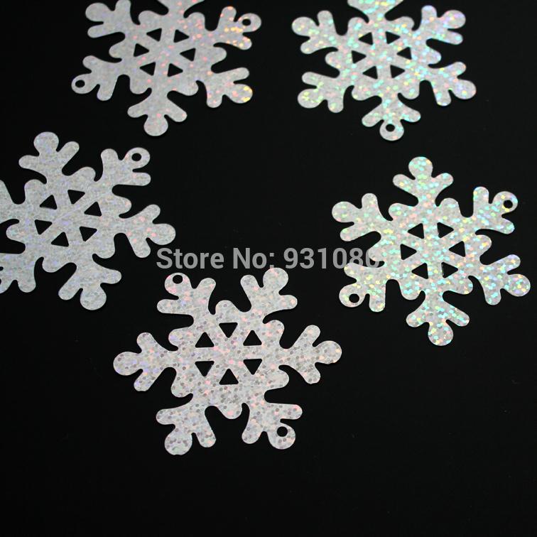 50 PCS / bulk silver sequins laser snowflake Christmas decoration Christmas tree ornaments glitter /diameter 2.56 inches(China (Mainland))
