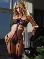 1set/lot free tracking cekc Lady Sexy costums Babydoll Teddies Lace Halter Chemise Underwear Lingerie Black & Purple