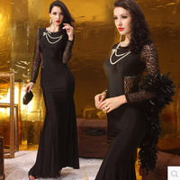 Attractive black Long Sleeve Applique Flower lace Scoop Neckline mermaid  Backless Sexy Formal Evening Dresses