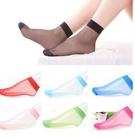 1 Pair Short socks candy color women socks crystal sock sexy silk ultra-thin A042
