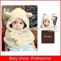 2014 Autumn Winter One Piece Velvet Caps Windproof Cape Baby Child Hats Bear Ears Baby Girls Cloaks Freeshipping