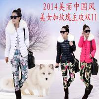 Big Fur Printed 2014 Winter New Korean Slim Down jacket+pants two-piece Cotton Coat Women Overcoat Parka Plus sizeM-XXL