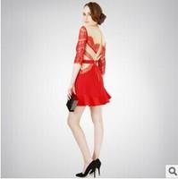 Western Style Wedding Formal Dress Red Sexy Wedding Lace Dress Chiffon Dress S, M, L
