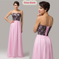 Grace Karin Stock Sweetheart A-Line Floor Length Elegant Chiffon Lace Appliques Cheap Evening dress Long party Gown 2015 CL6142