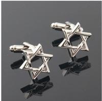 Free shipping! High quality French cufflinks, men's shirt cufflinks, silver three-dimensional hexagram, clothing accessories