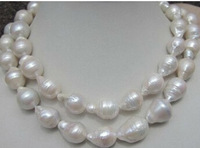"HUGE 36""14-16MM SOUTH SEA BAROQUE WHITE PEARL NECKLACE 14K. .free shipping"