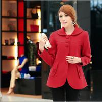 Plus Size Winter Trench Coat Women 2014 Fashion Women's Warm Coat 5XL Big Size Female Overcoat Red Turn-down Collar Overwear