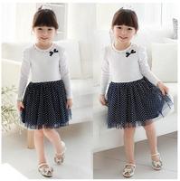 The new 2014 han edition children's skirt Single girls diandian yarn dress skirt