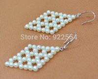 FASHION WOMEN Preparation of diamond 4-4.5 MM natural freshwater pearl earrings