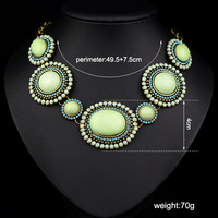 N-Z Vintage Acrylic Made Statement Women Neckalce with Rhinestones Round and Oval Pendants Jewelry JS-NZ0198