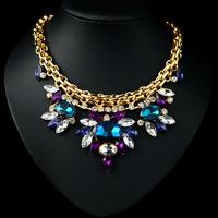 N-Z New Luxurious Elegant Lady Chain Necklace Color Austrian Crystals Rhinestones Tassels Pendant Vintage Necklaces JS-NZ0061