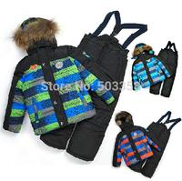 KS015 Free Shipping Jackets+pants+ vest 3pcs Set 2014 Winter Thicken Boy Down Jacket Patchwork Children Ski Suit  Warm Boys Sets