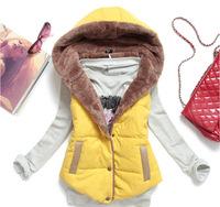 [ Plus Size M-XXXL ] 2014 Autumn Winter Slim Velvet Vest Thermal Down Hood Vest Women Cotton All-match Colete Feminino