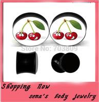 Double flared black ear expander plugs 160pcs/lot  free shipping ear flesh tunnel cute cherry logo body jewelry factory sale