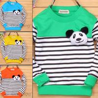 New 2014  autumn winter baby t-shirts, cotton long sleeve children clothes, cute panda head cartoon t-shirt