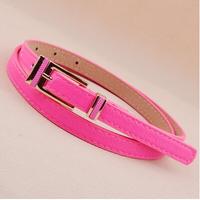 Newest Free shipping 2014 new popular european hip fashion cummerbund PU leather bright color thin strap waist belt female women