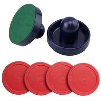 Free Shipping Set of Two Blue Air Hockey Pushers and Four Red Air Hockey Pucks