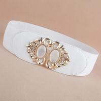 Newest Free shipping 2014 popular Fashion opal cutout gold buckle elastic waist belt strape leather wide cummerbund trench women
